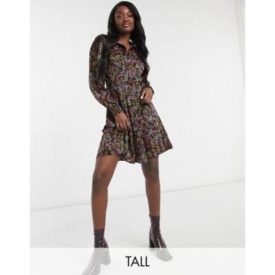 ベロモーダ レディース ワンピース トップス Vero Moda Tall mini shirt dress in black floral