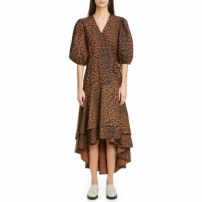 ガニー GANNI レディース ワンピース ラップドレス ワンピース・ドレス Puff Sleeve Organic Cotton High/Low Wrap Dress Toffee