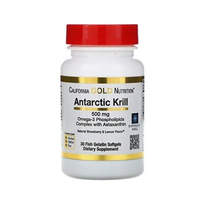 California Gold Nutrition, 南極クリル(オキアミ)オイル、アスタキサンチン配合 ストロベリー&レモンの天然風味、500mg、