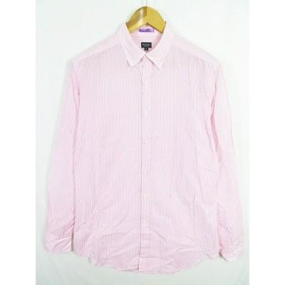 【中古】ポールスミス PAUL SMITH ボタンダウンシャツ 長袖 コットン L ストライプ ピンク 2sa0139 メンズ 【ベクトル 古着】