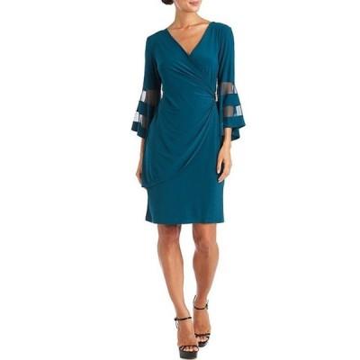 アールアンドエムリチャーズ レディース ワンピース トップス V-Neck Mesh Detail Bell Sleeve Faux Wrap Knit Dress