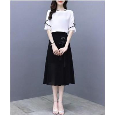 ファション 可愛い スカート 上下セット ブラウス ロングスカート 母親 Aライン ウエストゴム オフィス 通勤 OL セットアップ 女性 着痩