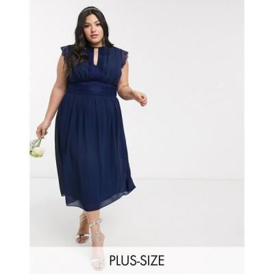 ティーエフエヌシー ドレス 大きいサイズ レディース TFNC Plus Bridesmaid lace detail midi dress in navy エイソス ASOS ネイビー 藍