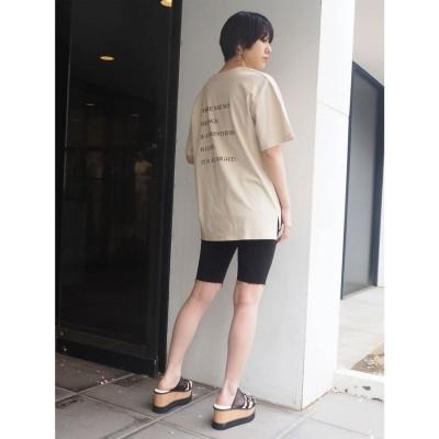 ムルーア MURUA バックプリントオーバーTシャツ (ベージュ)