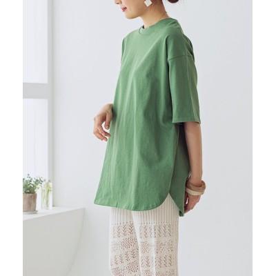 (GROWINGRICH/グローウィングリッチ)[トップス]ラウンドヘムオーバーサイズTシャツ[200810]/レディース グリーン