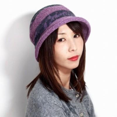 レディース 帽子 切り替えデザイン エリートシャポー ハット パッチワーク風 お洒落 ミセスハット ジャガード ネップ ループヤーン 帽子