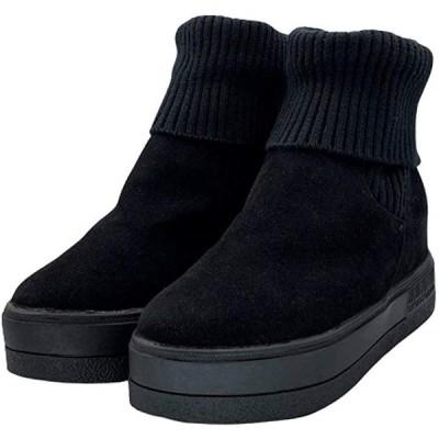 厚底 ニットブーツ カジュアルブーツ インヒール スニーカーソール リブニット ソックスブーツ 24.5 黒(ブラック, 24.5 cm)