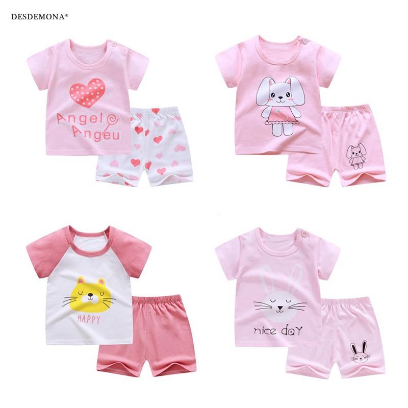 1-8歲女寶短袖套裝 2020年夏季新款女童童裝 小女孩純棉韓版卡通短袖T恤+短褲兩件套裝 兒童童裝