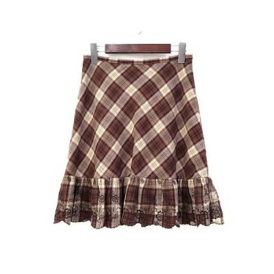 【中古】エル ELLE UNEVIEAVEC スカート 38 M 茶 ブラウン ウール ミニ チェック 刺繍 フリル レディース 【ベクトル 古着】