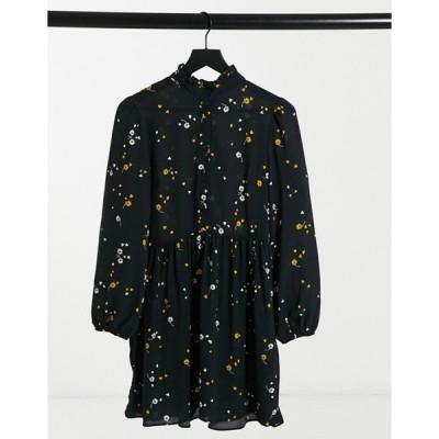 エイソス レディース ワンピース トップス ASOS DESIGN long sleeve button front mini smock dress in floral print