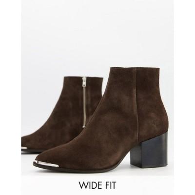 エイソス メンズ ブーツ・レインブーツ シューズ ASOS DESIGN Wide Fit heeled chelsea boots with pointed toe in brown suede with metal toe cap