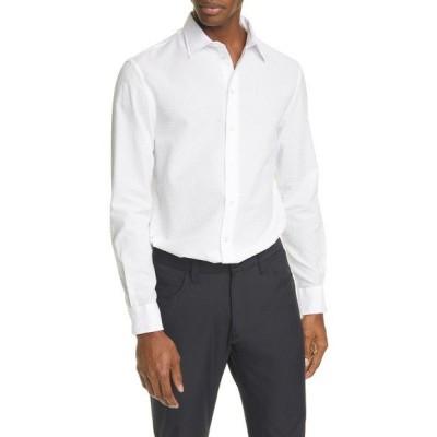 エンポリオ アルマーニ シャツ トップス メンズ Slim Fit Seersucker Button-Up Shirt White