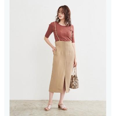 【ティティベイト/titivate】 フロントスリットサロペットスカート