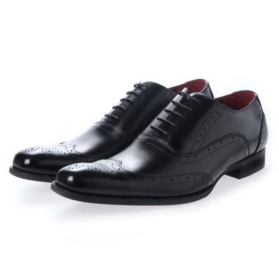 ネロ コルサロ NERO CORSARO ビジネスシューズ 本革 日本製 靴 メンズシューズ 紳士靴 抗菌 消臭 脚長 フォーマル 冠婚葬祭 ウイングチップ 内羽根 (ブラック)