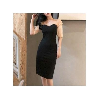 透け感 オフショル パーティードレス レディース ワンピース お呼ばれドレス kh-0965