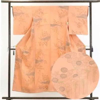 正絹薄オレンジ地袷小紋着物 身丈153cm 裄65cm 前幅24cm 後幅30cm 袖丈52cm 正絹小紋 リサイクル 中古品 古着 ユーズド