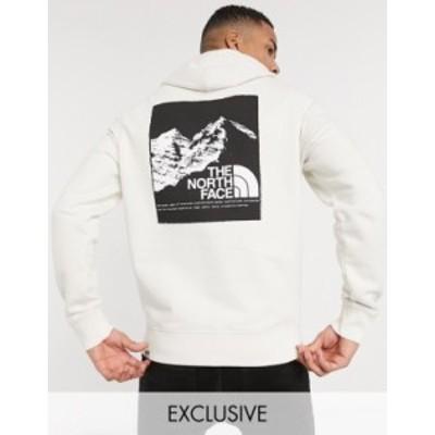 ノースフェイス メンズ パーカー・スウェット アウター The North Face back graphic hoodie in cream Exclusive at ASOS VINTAGE WHITE