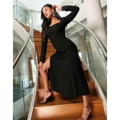エイソス レディース ワンピース トップス ASOS DESIGN square neck midi skater dress in black