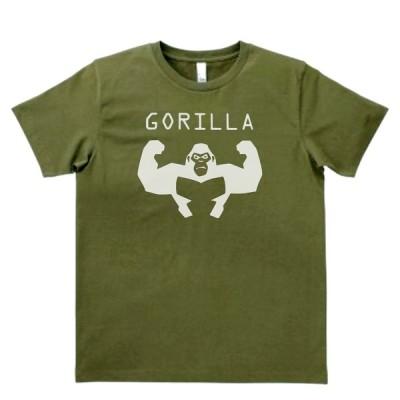 動物・生き物 Tシャツ ゴリラ GORILLA カーキー MLサイズ