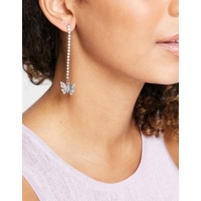 トップショップ レディース ピアス・イヤリング アクセサリー Topshop butterfly crystal chain drop earrings in silver Silver