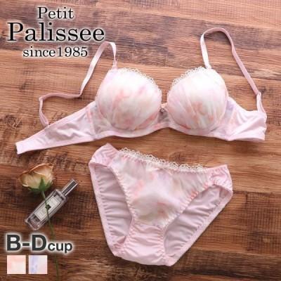 petit palissee パステルフラワーオーガンジー ブラジャー ショーツ セット BCD