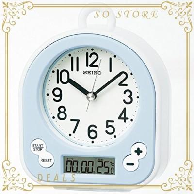 セイコー クロック 掛け時計 置き時計 兼用 生活防水 タイマー 温度 表示 アナログ キッチン&バス 薄青 BZ358L SEIK