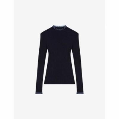 マージュ MAJE レディース ニット・セーター トップス Modele tulle-trimmed ribbed-knit jumper NIGHT BLUE