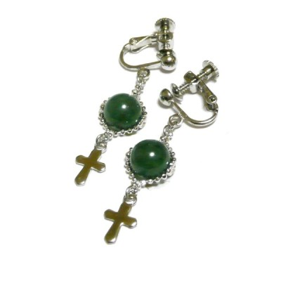 【Lily/クロス】ネフライト/翡翠と十字架のイヤリング