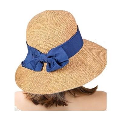 麦わら 帽子 レディース ハット リボン付き かわいい UVカット 日焼け防止 大きい 折りたたみ 夏 (ブルー)