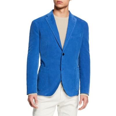 ボリオリ メンズ ジャケット・ブルゾン アウター Men's Corduroy Two-Button Jacket, Blue