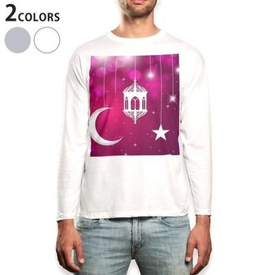 ロングTシャツ メンズ 長袖 ホワイト グレー XS S M L XL 2XL Tシャツ ティーシャツ T shirt long sleeve  月 星 キラキラ 001206