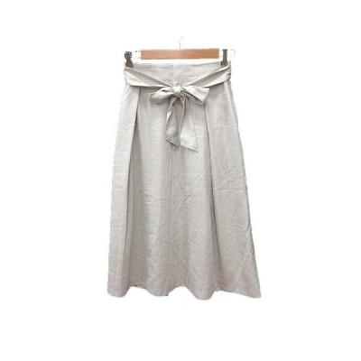 【中古】サロンドモニーク Le Salon de Monique フレアスカート ロング リボン 38 ライトグレー /KB レディース 【ベクトル 古着】