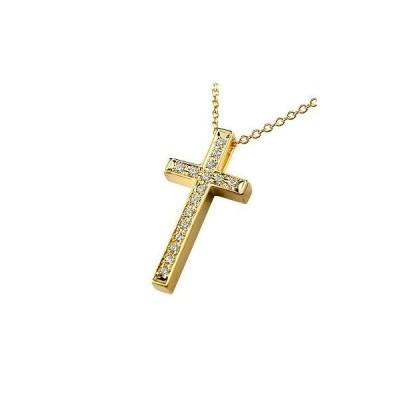 18金 ネックレス トップ クロス ダイヤ レディース ゴールド 18k ダイヤモンド ペンダント 十字架 イエローゴールドk18 チェーン 人気 女性 送料無料