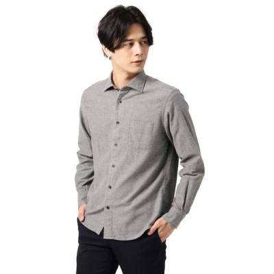カジュアルシャツ/メンズ/blazer's bank.com/ウォッシャブル/フランネル コットンワイドカラーシャツ ミディアムグレー