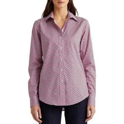 ラルフローレン レディース カットソー トップス Easy Care Leaf Print Long Sleeve Cotton-Blend Shirt Pink Multi