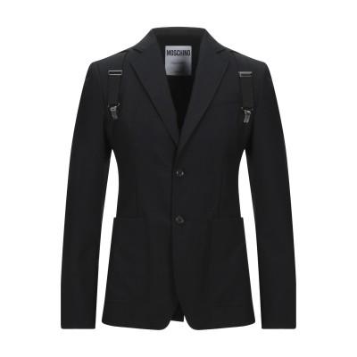 モスキーノ MOSCHINO テーラードジャケット ブラック 46 バージンウール 100% / 牛革(カーフ) テーラードジャケット
