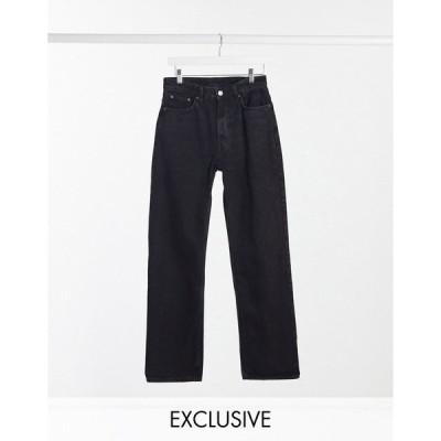 ウィークデイ レディース デニムパンツ ボトムス Weekday voyage organic cotton high waist straight leg button front jeans in black Echo black