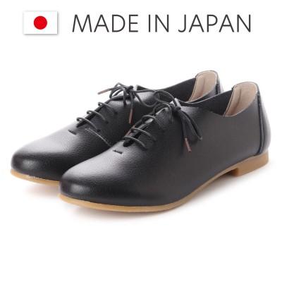 ラブ ピクル RUB PICLE 日本製/ナチュラル人工皮革レースアップフラットシューズ (BLACK)