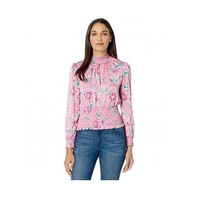 WAYF レディース 女性用 ファッション ブラウス Dresyn Mock Neck Smocked Waist Top - Pink Floral Dot Jacquard