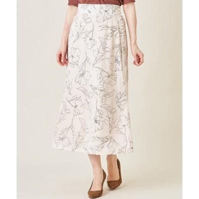 スカート パール付きラインフラワーナロースカート