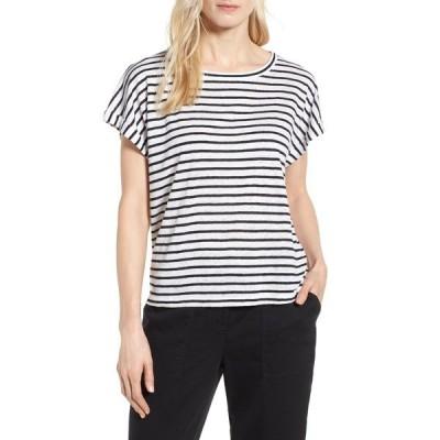 エイリーンフィッシャー レディース Tシャツ トップス Stripe Boxy Organic Linen Top WHTBL