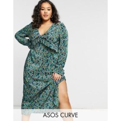エイソス レディース ワンピース トップス ASOS DESIGN Curve v neck midi plisse dress in green and blue floral print Blue floral pr