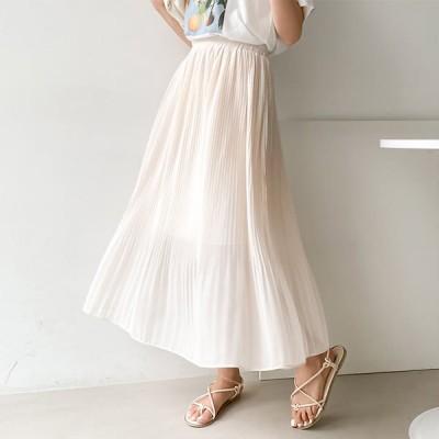 プリーツロングスカート。5色 / フェミニンなムード演出~ ウエイトゴムで楽ちん! (sk242)