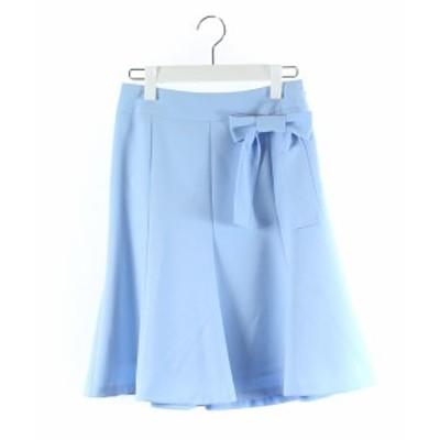 【中古】エリザ ELISA スカート フレア 膝丈 リボン 水色 /DK54 レディース