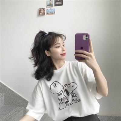 スヌーピー チャーリーブラウン イラスト キャラ Tシャツ かわいい お洒落 シンプル レディース 半袖   TS-0065