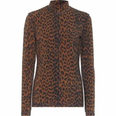 ガニー Ganni レディース ニット・セーター トップス leopard-print stretch-cotton sweater Toffee