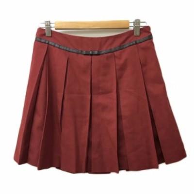 【中古】オリーブデオリーブ OLIVE des OLIVE スカート プリーツ ミニ 無地 赤 レッド レディース