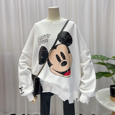 パーカー Tシャツ 欧米ファッション  スウェット ミッキー 长袖 春秋 トレーナー ブラウス レディース 大きいサイズ ディズニー  上着 オーバー  コート ワンピース Tシャツ