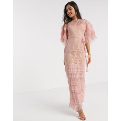 フォーエバーユニーク マキシドレス レディース Forever U embellished maxi dress with ruffle detail in pink エイソス ASOS ピンク