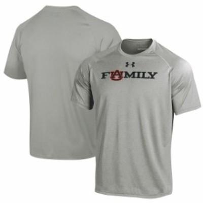 Under Armour アンダー アーマー スポーツ用品  Under Armour Auburn Tigers Heathered Gray Family Tech T-Shirt